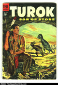 Golden Age (1938-1955):Miscellaneous, Four Color #596 Turok #1 (Dell, 1954) Condition: VG. Overstreet 2002 GD 2.0 value =$60; FN 6.0 value = $180....