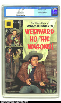 Four Color #738 (Westward Ho The Wagons) Circle 8 pedigree / Double Cover (Dell, 1956) CGC NM+ 9.6 Off-white to white pa...