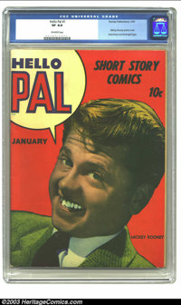 Hello Pal #1 (Harvey, 1943) CGC VF 8.0 Off-white pages. Mickey Rooney photo cover; Rocketman and Rocketgirl begin; Yanke...