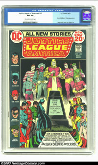 Justice League of America #100 (DC, 1972) CGC NM 9.4 Off-white to white pages. First meeting of Golden Age and Silver Ag...