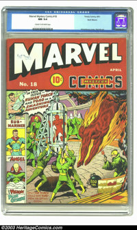 Marvel Mystery Comics #18 Recil Macon pedigree (Timely, 1941) CGC NM 9.4 Cream to off-white pages. Schomburg's covers ju...