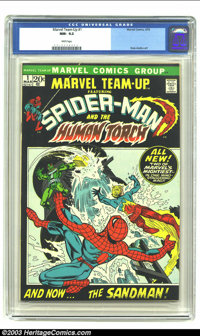 Marvel Team-Up #1 (Marvel, 1972) CGC NM- 9.2 White pages. Ross Andru Spider-Man and Human Torch art; Sandman appearance...