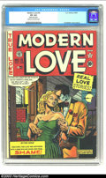"""Golden Age (1938-1955):Romance, Modern Love #5 (EC, 1950) CGC VG 4.0 Cream to off-white pages. CGCnotes: """"Slightly rusted staples"""". Al Feldstein cover and ..."""