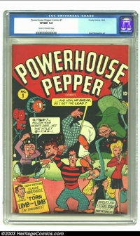 Powerhouse Pepper Comics #1 (Timely, 1943) CGC VF/NM 9.0 Cream to off-white pages. Basil Wolverton art. Highest grade ye...
