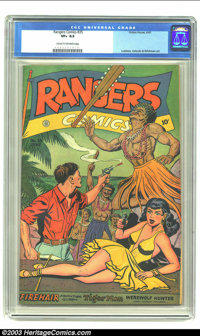 Rangers Comics #35 (Fiction House, 1947) CGC VF+ 8.5 Cream to off-white pages. Lubbers, Celardo and Whitman art. Overstr...