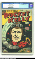 Golden Age (1938-1955):Science Fiction, Rocket Kelly #1 (Fox Features Syndicate, 1944) CGC VG- 3.5 Cream tooff-white pages. This copy of the premiere issue of the ...