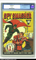 Golden Age (1938-1955):Superhero, Spy Smasher #3 (Fawcett, 1942) CGC NM- 9.2 Off-white pages. Bondage cover. Overstreet 2002 NM 9.4 value = $1225. ...
