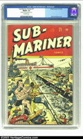 "Golden Age (1938-1955):Superhero, Sub-Mariner Comics #17 (Timely, 1945) CGC FN/VF 7.0 Off-white pages. CGC notes: ""Very minor amount of glue on cover"". Part o..."