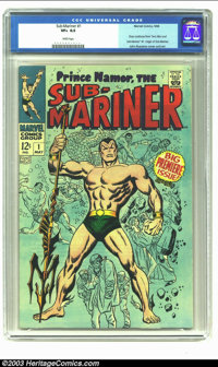 """The Sub-Mariner #1 (Marvel, 1968) CGC VF+ 8.5 White pages. Story continues from """"Iron Man and Sub Mariner"""" #1;..."""