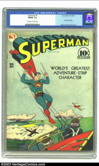 Superman #7 (DC, 1940) CGC FN/VF 7.0 Off-white to white pages. First Perry White; Siegel and Shuster story and art. Over...