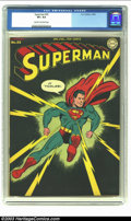 Golden Age (1938-1955):Superhero, Superman #32 (DC, 1945) CGC VF+ 8.5 Cream to off-white pages. Overstreet 2002 VF 8.0 value = $625; NM 9.4 value = $1100. ...