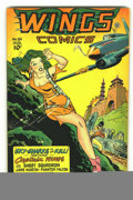 Golden Age (1938-1955):War, Wings Comics #84 (Fiction House, 1947) Condition: FN+. Coolgreen-haired good girl cover. Overstreet 2002 FN 6.0 value = $60...