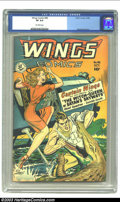 Golden Age (1938-1955):War, Wings Comics #98 (Fiction House, 1948) CGC VF 8.0 Off-white pages.George Evans art. Overstreet 2002 VF 8.0 value = $105. ...