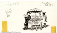 "Robert Crumb - Original Illustration (undated). This small pen and ink on sketch paper is approximately 5"" x 8""..."