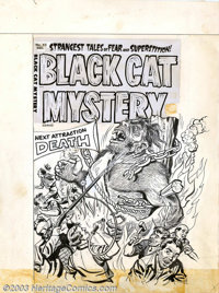 Unknown artist - Original Cover Art for Black Cat Mystery #42 (Harvey, 1955). A carnival attraction gone hideously wrong...