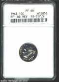 Proof Roosevelt Dimes: , 1963 Doubled Die PR 66 ANACS. FS-17.5. Attractive color....