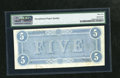 Confederate Notes:1864 Issues, T69 $5 1864. A tight top margin is the reason for the grade of PMG Uncirculated 62 EPQ....