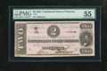 Confederate Notes:1862 Issues, T54 $2 1862. PMG has graded this note About Uncirculated 55 due tocorner folds and stains....