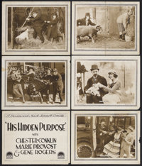 "His Hidden Purpose (Paramount, 1918). Title Lobby Card (11"" X 14"") and Lobby Cards (5) (11"" X 14"")..."