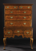 Furniture, A George III Burl Walnut Chest on Stand. Unknown maker, English. Circa 1750-1770. Burl walnut and brass. Unmarked. 69.5 in...