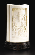 Asian:China Trade, Chinese Export Carved Ivory Bible. Unknown maker.Nineteenth/Twentieth Century. Ivory and wood. Marks: engravedacross the l...