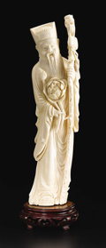 Asian:Chinese, Chinese Carved Ivory Figure. Unknown maker, Chinese. TwentiethCentury. Ivory and wood. Marks: lower back 8B15, and on w...