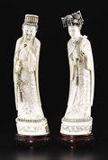 Asian:Chinese, Chinese Carved Ivory Emperor and Empress. Unknown maker, Chinese.Twentieth Century. Ivory and wood. Marks: (Qianlong Period...(Total: 2 )