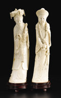 Asian:Chinese, Chinese Carved Ivory Emperor and Empress. Unknown maker, Chinese.Twentieth Century. Ivory and wood. Marks:each signed on ba...(Total: 2 )