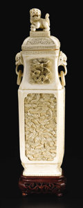 Asian:Chinese, Chinese Carved Ivory Covered Vase. Unknown maker, Chinese.Twentieth Century. Ivory and wood. Marks: seal on base, andnumbe...
