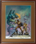 Illustration:Science Fiction, BORIS VALLEJO (American b.1941) . The Two-Headed Beast, 1984. Oil on board . 34 x 28in. . Signed lower right . Professi...