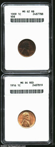 Lincoln Cents: , 1909 VDB 1C MS62 Red and Brown ANACS, glimmers of ...