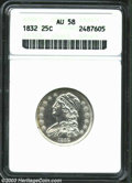 Bust Quarters: , 1832 25C AU58 ANACS. B-1, R.1. A bright and well struck ...