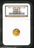 Commemorative Gold: , 1915-S G$1 Panama-Pacific Gold Dollar MS65 NGC. Both ...