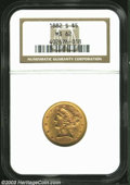 1882-S $5 MS62 NGC. A raised die line (as made) reaches the eagle's left (facing) claw. A boldly struck and lustrous rep...