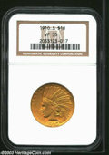 Indian Eagles: , 1910-S $10 VF35 NGC. Moderately abraded with even wear ...