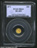 California Fractional Gold: , 1871 25C Liberty Round 25 Cents, BG-809, R.4, MS62 PCGS. ...