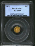 California Fractional Gold: , 1872 50C Indian Round 50 Cents, BG-1049, R.6, MS63 PCGS. ...