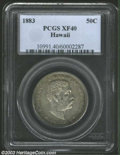 Coins of Hawaii: , 1883 50C Hawaii Half Dollar XF40 PCGS. A pearl-gray ...