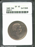Coins of Hawaii: , 1883 50C Hawaii Half Dollar XF45 ANACS. The peripheral ...