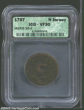 1787 COPPER New Jersey Copper, Outlined Shield VF30 ICG. Maris 39-a, R.2. A purple-brown State Copper with lightly granu...