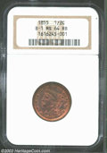 Half Cents: , 1855 1/2 C MS64 Red and Brown NGC. B-1, C-1, R.1. The ...