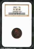 Proof Indian Cents: , 1867 1C PR65 Red and Brown NGC. Spectacular violet, ...