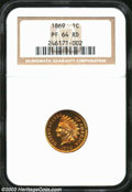Proof Indian Cents: , 1869 1C PR64 Red NGC. Speckles of honey-gold and rose ...