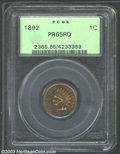 Proof Indian Cents: , 1892 1C PR65 Red PCGS. An exquisitely struck Gem with ...