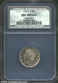 1912-S 5C Unc Details, Polished NCS. An affordable Mint State representative of this key date final-year Liberty Nickel...