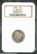 Proof Liberty Nickels: , 1890 5C PR65 NGC. A boldly struck Gem with milky apricot ...