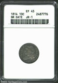 Bust Dimes: , 1814 10C Small Date XF45 ANACS. JR-1, R.3. The scarcer ...