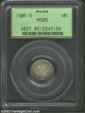 Barber Dimes: , 1905-S 10C MS65 PCGS. Dusky sea-green and lavender colors ...