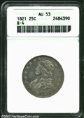 Bust Quarters: , 1821 25C AU53 ANACS. B-4, R.2. The peripheries have pale ...