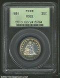 Seated Quarters: , 1881 25C MS62 PCGS. Well struck aside from a few obverse ...